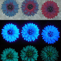 EyeGloArts polymer clay Millefiore Glow Jewelry Red Glow in the dark 3D Daisy Pendant  UV neon black light