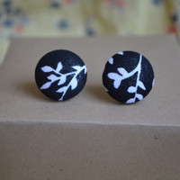 Classy Black and White Vine Fabric Button Earrings