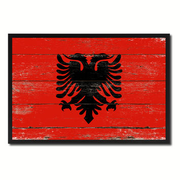 Albania Country National Flag Vintage Canvas Print with Picture Frame Home Decor Wall Art Collection Gift Ideas