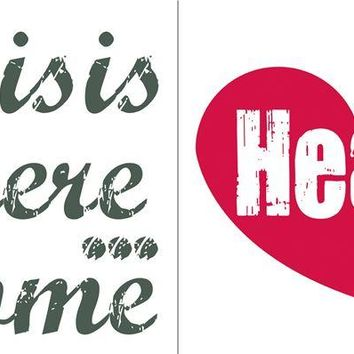 Brewster Wallpaper CR-62123 Home Is Where The Heart Is Wall Quote