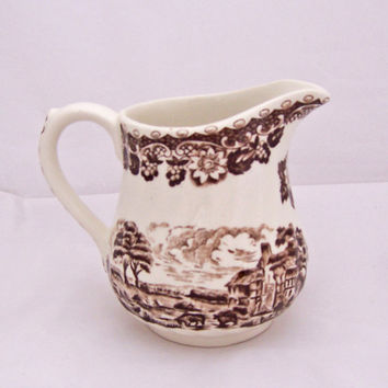 Vintage Barratts Elizabethan Staffordshire Ware Milk Jug, Brown Pattern