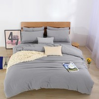 Two-tone Bedding sets,2/3Pcs Duvet Cover Set For USA Europe,4-7Pcs Bed Linens Sheet Set For Russia,Solid Bedclothe Gray
