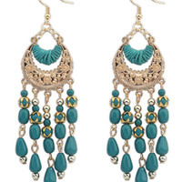 Carved Metallic Tasseled Beads Drop earrings