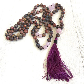 Jasper and Rose Quartz Mala Beads, Leopardskin Jasper Mala, Long Tassel Mala Necklace, 108 Bead Gemstone Mala Necklace,  Bohemian Mala Beads