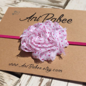 Shabby chic baby headband, polka dot headband, flower baby headband, headband for newborns, toddlers, teen girls