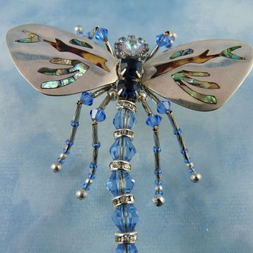 Large Designer Signed Abalone Inlaid Sterling Silver & Crystal Dragonfly Brooch