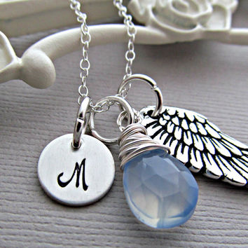 Angel Wing Necklace, Custom Birthstone, Silver Initial Charm, Stamped Letter, Aquamarine Gemstone, Personalized Gift, Friendship Necklace