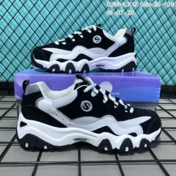 hcxx Skechers Breathable Heavy bottomed Casual Running shoes White Black