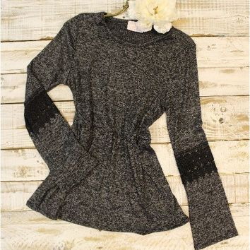 Heather lace tunic with lace trim - charcoal grey