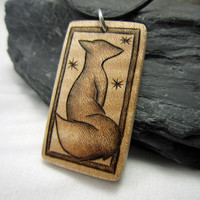 Fox Pendant Necklace, Artisan Jewelry, Leather Necklace, Woodland Fox Pendant, Whimsical Art