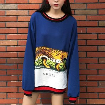 Gucci Long Sleeve Hooded Tank Print Tattoo Sweater Blue Tagre™