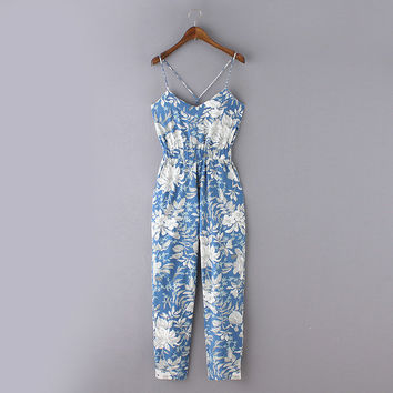 Floral Print V-Neck Criss Cross Strappy Playsuit