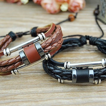 Couples Bracelets Genuine Leather Beaded Wrist Cuff Men Women, Charm Bracelet, Personalized Bracelets, Valentine Gift Anniversary gift