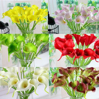 Sweet 10Pcs Artificial Latex Calla Lily Flower Bouquet Home Wedding Bridal Decor = 1932538628