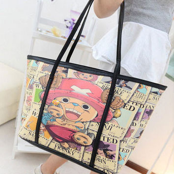 Cartoon Print Leather Handbag