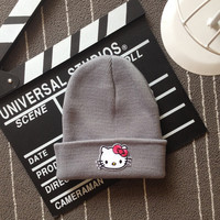 Hello Kitty Head Embroidered Patch Womens & Mens Beanie Wool Knitted High Quality Gray Cuffed Skully Hat