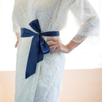 Colored Sash for White Lace Robe