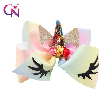 "7"" Sequin Unicorn Hair Bow With Clip For Girls Kids Satin Flowers Rainbow Ribbon Cat Ear Glitter Bow Hairgrips Hair Accessories"