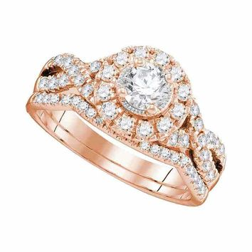 14kt Rose Gold Women's Round Diamond Twist Bridal Wedding Engagement Ring Band Set 1.00 Cttw - FREE Shipping (US/CAN)