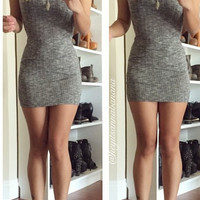 Shorty Ribbed Mini Dress - Charcoal- FINAL SALE