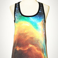Star Cluster Galaxy Aura The Phoenix Universe Black Tank Top Singlet Sleeveless Photo Transfer Punk Rock T-Shirt Size XS