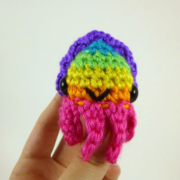 Baby Cuttlefish - Bright Rainbow Striped - Pink Base - Made to Order - Amigurumi Crochet Plushie