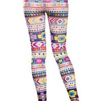 Amour- Women's Pattern Leggings Cotton Stretch Pants - Many Designs (Colorful Aztec)
