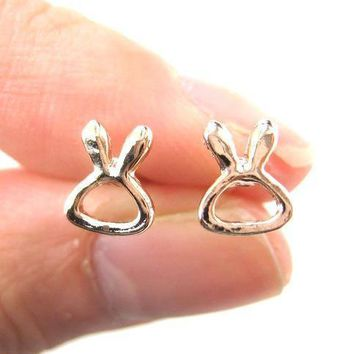Tiny Bunny Rabbit Outline Animal Themed Stud Earrings in Rose Gold