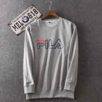 Men's Gray FILA Print Long Sleeve Round Neck Sweatershirt Pullover