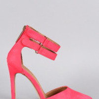 Women's Liliana Neon Pointy Toe Ankle Strap Pump