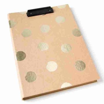Gold Dot Kraft Clip Board With Notepad