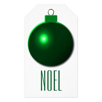 """Noel"" Shiny Green Christmas Ball Ornament Pack Of Gift Tags"