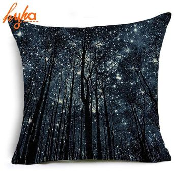 Hyha Starry Forest Polyester Pillow Case Cover Oil Painting Starry Night Moon Home Pillow Cases Animal Abstract Art Look up Sky