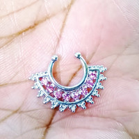 Pink CZ Tribal Indian Native American septum nose rings clip-ons faux non piercing stainless steel
