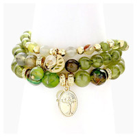 3 PCS - Olive Green & Gold  Tree of Life Charm Bead Stack Stretch Bracelets