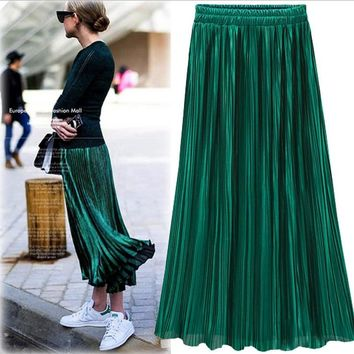 Silver Gold Pleated Skirt Womens Vintage High Waist Skirt Summer Long Skirts New Fashion Metallic Skirt Female