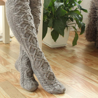 Hand knit socks Beige Brown Knee high Socks Wool socks Warm winter socks aran socks Cable socks