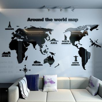 New arrival World map Creative Household office Acrylic 3d three-dimensional wall stickers Living room bedroom decoration