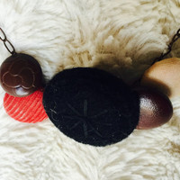 Red Corduroy Fabric and Leather Button Necklace