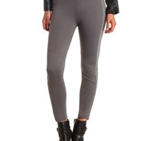 Quilted Faux Leather Paneled Skinny Moto Pants - Charcoal