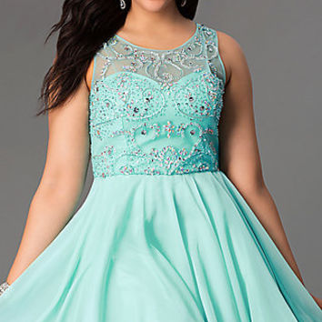 Short Sleeveless Jewel Embellished Plus Size Dress