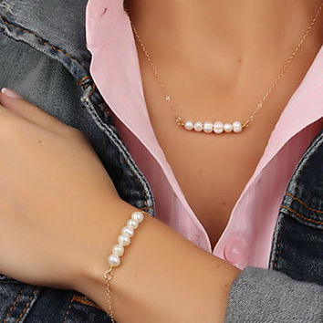 Gift Great Deal Hot Sale New Arrival Shiny Awesome Accessory Stylish Simple Design Pearls Handcrafts Necklace Bracelet [8804752135]