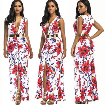 Europe and the United States sexy sleeveless printed fashion dress with a belt