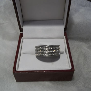 SALE ITEM! Stainless Steel Band, Three Rows of Beautiful Diamond Look CZ's, Hallmarked, Size 10 , Wedding Band, Promise Ring, Unisex,