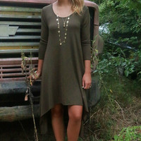 Fields Of Fireflies Olive Asymmetrical Hem Hi-Low Midi Dress