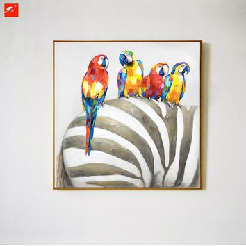 Animal Wall Art Elephant Zebra Abstract Parrot Hand Painted Oil Painting On Canvas Printing Home Decor Picture For Living room