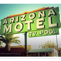 Arizona Motel Fine Art Photograph, retro vintage roadside Southwest neon green pop art mid-century modern kitsch