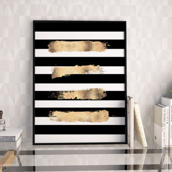 BLACK And GOLD ABSTRACT,Abstract Painting,Gold Foil,Abstract Wall Art,Digital Print,Gold Print,Office Decor,Home Decor,Modern DcorInstant