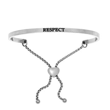 Intuitions Stainless Steel RESPECT Diamond Accent Adjustable Bracelet