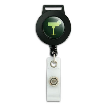 Margarita Glass Green Fiesta Mexican Mexico Retractable Badge Card ID Holder
